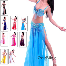 Wholesale White Leather Costume - Wholesale-Hot Sale Performance Dancewear 2 Pieces Belly Dance Costume Dancing Bra&Belt With Rhinestone& Tassel For Ladies