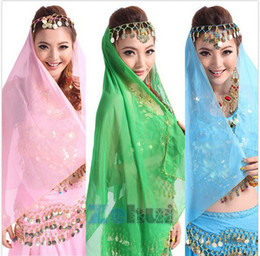 Wholesale Belly Dance Shawl Veil - Wholesale-Belly Dance Chiffon Headpiece Head Scarf Shawl Veil Dancing Headband Costume For