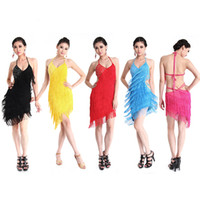 Wholesale Sexy Latin - Wholesale-Sexy Lady Night Cocktail Party Latin&Ballroom Dance Tieback Fringe Dress
