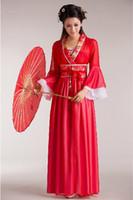 Wholesale Costume Chinese Dance - Wholesale-Women Costume Fairy Ancient Princess Classical Hanfu Chinese Folk Dance Traditional Costume Chiffon Dress S M L XL Free Shipping