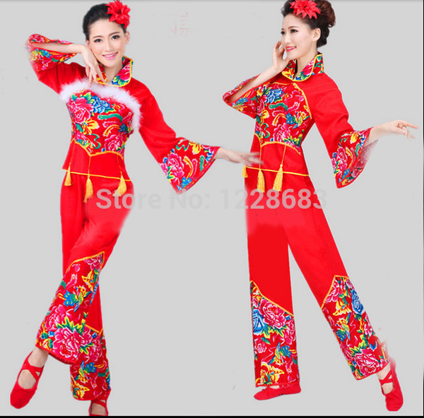 best selling Wholesale-Free Shipping New Year Red Cheap Discount Women Ladies Ancient Chinese National Costume Traditional Chinese Dance Costumes