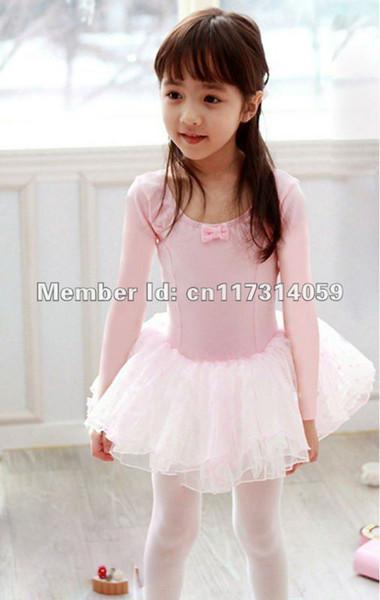 Al por mayor-Venta al por menor-Envío gratuito -Girls Dance Dress Long Sleeve Leotardo Ballet Tutu Skate Fairy Party Show Falda SZ2-7Y Negro Rosa