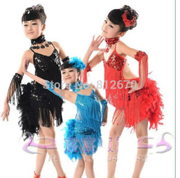 Wholesale Kids Ballroom Dance Costumes - Wholesale-New Children Kids Sequin Feather Fringe Stage Performance Competition Ballroom Dance Costume Latin Dance Dress For Girls XC-4814
