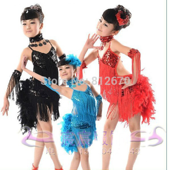 best selling Wholesale-New Children Kids Sequin Feather Fringe Stage Performance Competition Ballroom Dance Costume Latin Dance Dress For Girls XC-4814