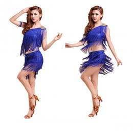 Wholesale Blue Ballroom - Wholesale-Latin dance costume salsa tango rumba Cha cha Ballroom Dance Dress Mini Dress Summer dress belly belly ladies fashion