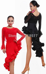 Wholesale Professional Ballroom Dancing - Wholesale-Female Ballroom dancing dress adult Fishbone Latin skirt costume suit professional dress Bullfighting tango salsa skirts set