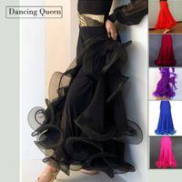 Wholesale Belly Dance Practice Skirt - Wholesale- Dress For Ballroom Dancing Black Red Blue Rose Purple Waltz Dance Dress Tango Ballroom Practice Performance Skirt DQ5017