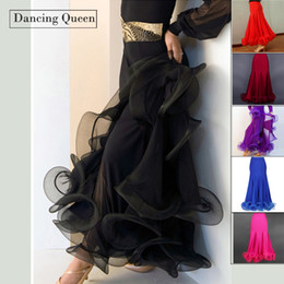 Wholesale Tango Dresses For Dance - Wholesale- Dress For Ballroom Dancing Black Red Blue Rose Purple Waltz Dance Dress Tango Ballroom Practice Performance Skirt DQ5017