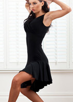 Wholesale Black Belly Dance Dress - Wholesale-New Style V Neck Latin Salsa Tango Rumba Cha-cha Ballroom Dancer Dress Skirt Red Black Purple tl025