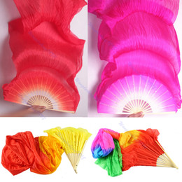 Wholesale Red Hand Fans - Wholesale-1Pc Hand Made Colorful Belly Dance Dancing Silk Bamboo Long Fans Veils 4 Colors Free Shipping