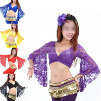 Wholesale Purple Belly Dance Top - Wholesale-Fashion Belly Dancing Costume Lace Butterflies Sleeve Blouse Sexy Pierced Tops