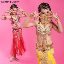 Wholesale Indian Bollywood Dancing - Wholesale-2015 Girls Belly Dance Costume Set Children Bollywood Dance Costumes Kids Indian Dance Costumes Practice Performance Stage Wear