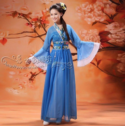 Wholesale-Women Costume Fairy Ancient Princess Classical Hanfu Chinese Folk Dance Traditional Costume Chiffon Dress S/M/L/XL Free Shipping