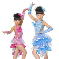 Wholesale Latin Stage Sequin Dancewear - Wholesale-Fashion Sequin Latin Dance Dresses For Girls Lace Ball Salsa Dancing Costumes Vestidos Kids Samba Modern Stage Dancewear DS236