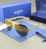 estuche marino al por mayor-Al por mayor-CALIENTE! Envío gratis mejor calidad mykita con TRANSPARENTE GOMA marca Gafas de sol mujeres y hombres gafas de sol de la playa del mar con el caso
