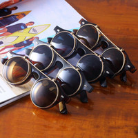 yuvarlak steampunk güneş gözlüğü gözlükleri toptan satış-Yeni Klasik Steampunk Goth Gözlük Gözlük Yuvarlak Yukarı Çevirmek Güneş Gözlüğü Vintage Moda Aksesuarları Wholesle