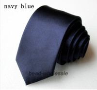 Wholesale Men S Knit Ties - Wholesale-Free Shipping Navy Blue Ties For Men Silk Tie Slim Plain Solid Fashion necktie and ties Adornment Jewelry