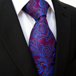 Wholesale Extra Long Mens Tie - Wholesale-Extra long size Floral Paisley Fuchsia Red Blue Navy Black Mens Tie 100% Silk Jacquard Woven Fashion