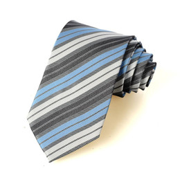 Wholesale Cheap Ascots For Men - Wholesale-Fashion Business Suits Tie Classic White Blue Grey Stripe Silk Tie For Men Cheap tie Free Shipping