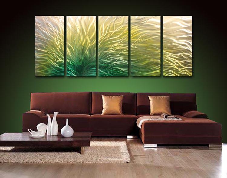METAL pittura ad olio, pittura astratta di arte della parete del metallo che dipinge Green Yellow Black blule hight