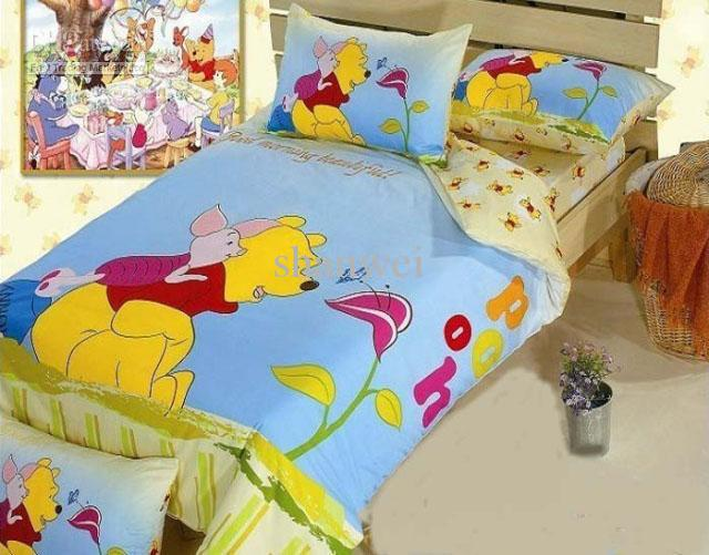 cute cartoon 4pc set winnie the pooh queen bedding set 100 cotton kids boys bedspread
