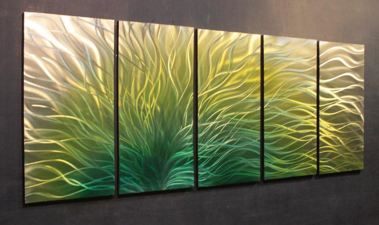 Metall-Ölgemälde, abstrakte Metall Wand Kunst Skulptur Malerei grün gelb schwarz blule Höhe