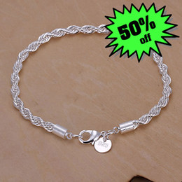Wholesale stainless steel bracelet wholesale - S-B207 wholesale 925 silver bracelets fashion jewelry Nickle free antiallergic, Link, Chain Bracelets Jewelry factory price