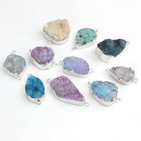 Wholesale drusy connectors - wholesale 10PCS Silver Plated multicolor Drusy Agate Stone Connector Druzy Pendant (RANDOM IN SHAPE) DIY pendant jewelry
