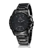 Wholesale Double Movement - Wholesale-Wrist watches men luxury brand NAVIFORCE Japan Double Movement Quartz Digital watch stainless steel men fashion sports LED watch