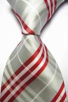 ingrosso legame ascot arancione-CON53 Cravatta in poliestere intrecciato in poliestere per uomo con righe blu scuro Arancione marrone rosso nero Brand New Classic Business con cravatta da sposa