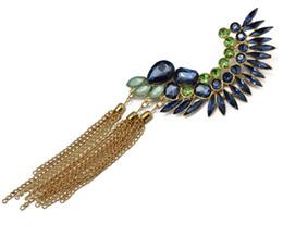 Wholesale Tassel Earring Cuff Feather - Fashion Vintage punk rock Gold Plated Crystal Feather Shape Long Tassels Left Ear Cuff Earring women