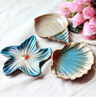 Wholesale Glass Soap Box - Pratos De Jantar And Plates Sets Mediterranean Seashells Starfish Conch Three-piece of 1set Compote Dish Soap Box Gp-001