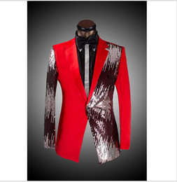 Wholesale Half Mens Suit - New Mens Wedding Costume Groom Suits Half-length Sequined Dress Gentleman Tuxedo Business Casual Presided Red Blazer Pants