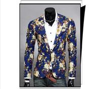 özel blazerler erkek toptan satış-2015 Yeni Bahar Erkekler Moda Suit Uzun Kollu Slim Fit Casual Blazer Çiçek Desen Erkek Takım Elbise Özel Tasarım erkekler Casual Blazer