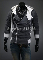 Wholesale Men Slant Hoodie - 2015 Stylish Winter and Autumn Jacket For Men Hoodies And Sweatshirts Fit Slim Hoodies Slant Zip Patchwork Color US Size XS-XL