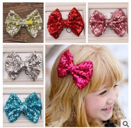 Wholesale Hair Bows Pins - Cute Bow Sequin Girls Hair Pin Fashion Bling Baby Hair Bows Hairpin Butterfly Children Hair Accessorie kids Barrettes H030
