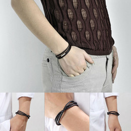 Wholesale Womens Brown Leather Bracelets - Fashion Womens Mens Black Brown Retro Leather Interlaced Cuff Bangle Wristband Bracelet