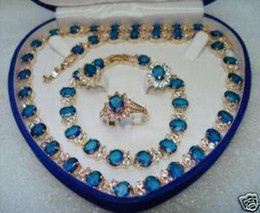 Wholesale Earring Necklace Ring Gold - 18k gold filled Blue Sapphire necklace& bracelet& ring&earrings Sets box