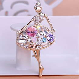 Wholesale Dancing Girl Brooches - Collar Ballerine Dance Girl Brooches For Hijab Scarf Pins Broches Perfumes Personality Brooch Of Ballet Jewelry Pin Up Christmas