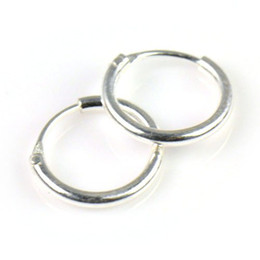 Wholesale Cartilage Earrings Endless Hoop - Wholesale-925 Sterling Silver Teeny Endless Hoop Earrings for cartilage, Nose and lips, 5 16 inch Diameter=8mm,,PT-697