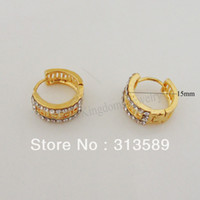 Großhandels-Minimaler Auftrag $ 10 / FREE SHIPPING / GREEK KEY 18K YELLOW GOLD SOLID GP OVERLAY MIT BRASS FILL HOOP 0.59