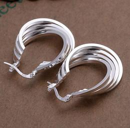 Wholesale Large Earrings For Cheap - Wholesale-Lose Money Earrings E157 Silver Plated 925 Hoop Earring For Women Big Huge Large Wholesale Cheap Item fgda nxka on Sale