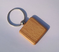 Wholesale Steel Key Blanks - Wholesale 50pcs Blank Wooden Key Chain Engrave Promotion Gift DIY Carving Square key ID 4cm *4cm-Free Shipping