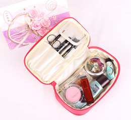 Wholesale Double Make Up Bag - Wholesale-7 Color Fashion Style Double Side Pouch Beauty Make Up Cosmetic Cases Jewelry Travel Storage Bag Cosmetic bag