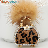 Бренд Mini Handbag Fur Keychain Keyring Fashion Rhinestone Trinket Metal Key Chain для женских мешков с подарками Charms Pendant Jewelry