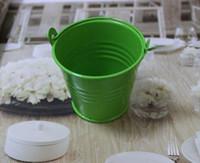 ingrosso mini vaschette verdi-100 pz / lotto, mini bomboniere bomboniere, bomboniere, secchielli mini, scatola caramelle di latta, confezione regalo
