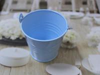 cubos de lata azul al por mayor-Envío libre, 30pcs / lot- favores azules de la boda de los cubos de la lata, favores de la boda, mini cubos, favores de la caja del caramelo de la lata, gran decoración del partido