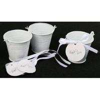 baldes mini baldes venda por atacado-100 pçs / lote, Branco Mini balde, favorece latas, favores do casamento, baldes de estanho, caixa de lata de doces, favorece latas