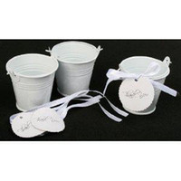 Wholesale tin buckets favors online - 100pcs White Mini bucket favors tins wedding favors tin pails tin candy box favors tins