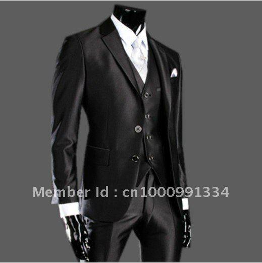 2017 2015 New 1 Or 2 Single Breasted Men'S Matte Black Suit And ...